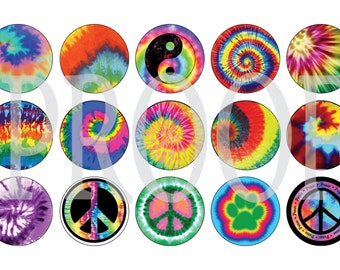 Digital Bottle Cap Image Sheet - Tie Dye Rainbow - 1 Inch Digital Collage - Instant Download