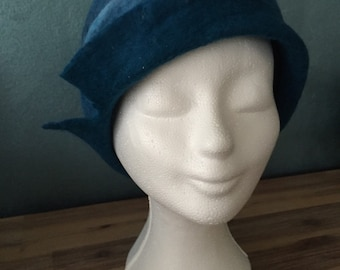 Sale! Felted Merino Wool cloche hat,