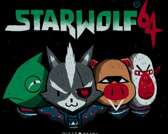 Star Wolf 64 star fox T-shirt / lylat wars star fox 64 tee / n64 nintendo shirt retro gaming / Wolf O'Donnell, the great Leon, pigma,