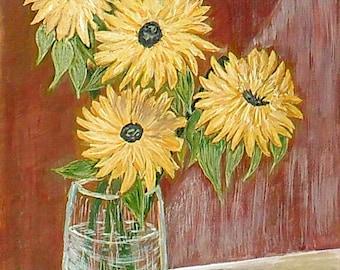 Картина «Подсолнухи»  / Painting «Sunflowers»  40x30 cm ватман, гуашь