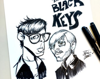 "The Black Keys Original Ink Drawing 8.5""X11"" inches"