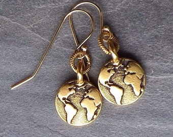 Gold Earth earrings / Small gold plated Earth earrings / Globe dangle earrings