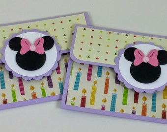 Minnie Mouse Birthday Gift Card Holder Set of 2