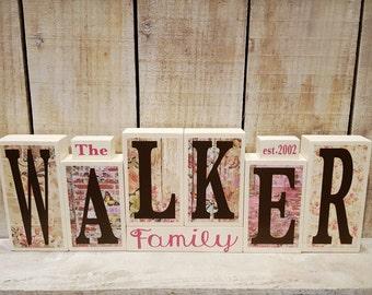 Custom Name Wood Blocks - Custom Last Name Wood Blocks - Name Wood Decor - Custom Name Decor - CHOOSE YOUR STYLE