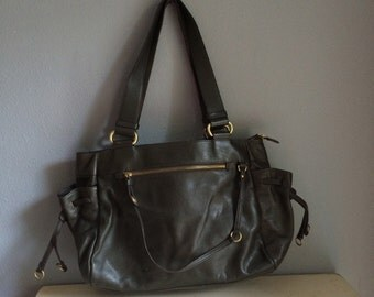 vintage bag, dark olive green, Danier real leather shoulder bag, large, slouchy, with brass detailing