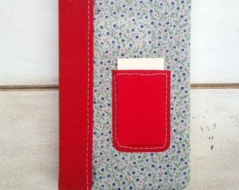 Travel journal with inside and outside pocket, pocket size journal, pocket notebook, cute notebook, red velvet journal, vintage notebook