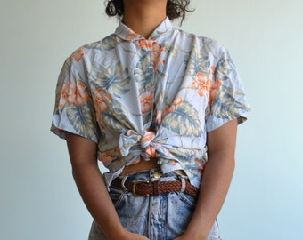 Vintage sz M hawaiian button up shirt