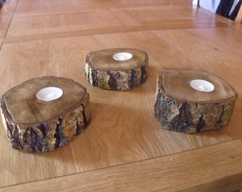 Trio Of Rustic Wooden Log Tealight Candle Holders