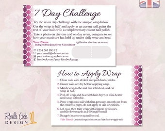 UK / 7 Day Challenge / Customised / Nail Wrap Party Consultant / Printable Stationery / Sized for United Kingdom