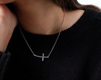 sideway cross necklace, sideway cross, cross necklace, silver cross, silver necklace, religious jewelry, cross pendant, cross jewelry, cross
