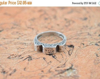 1 Day Sale Abstract Hammered Band Ring Size 8.25 Sterling Silver 4.3g Vintage Estate