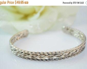 ON SALE Braided Cuff Bracelet Sterling Silver 14.6g Vintage Estate