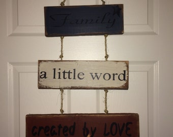 Family Stacked wood sign