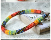 Colorful bead crochet pachwork print necklace, bright summer seed beaded necklace jewelry, embroidery necklace jewelry