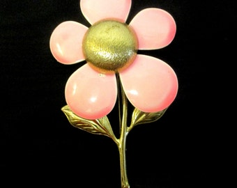 Pink & Gold Flower Brooch