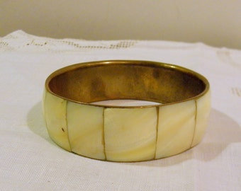 Brass and Inlaid Mother of Pearl Bracelet