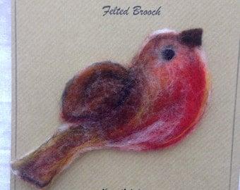 Felted brooch - Robin