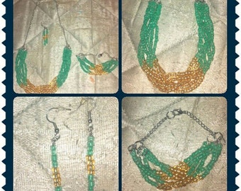 Teal and Gold Necklace Set