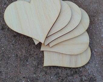 DIY supply/6 wooden hearts/unfinished hearts/wooden toys/wooden figure/wooden supplies
