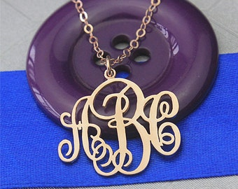 Monogram necklace rose gold, script monogram necklace, personalized initial necklace, three initial necklace, monogrammed necklace, gift