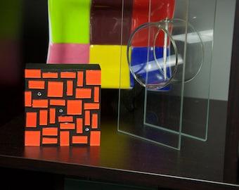 Orange Glass Art, Glass Art, Wall Decor, Abstract Art, Home Decor, Colorful Art, Contemporary, Modern