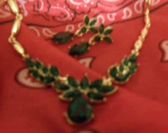 Green  bib necklace and earrings