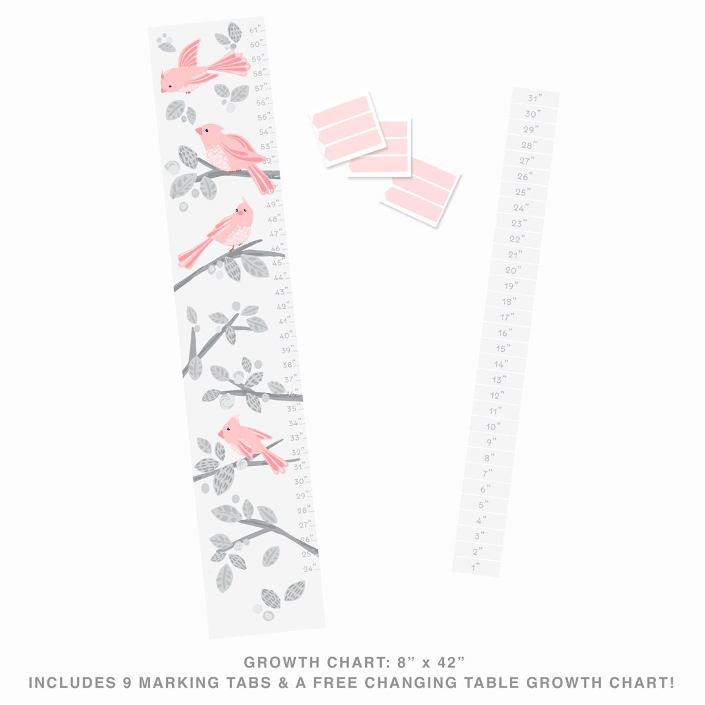 Growth chart fabric wall decal sweet birds blush mej mej growth chart fabric wall decal sweet birds blush mej mej geenschuldenfo Images
