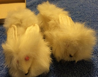 Vintage real rabbit fur baby slippers