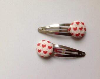 heart hair clip, heart barrette, heart fabric covered button hair clip pair