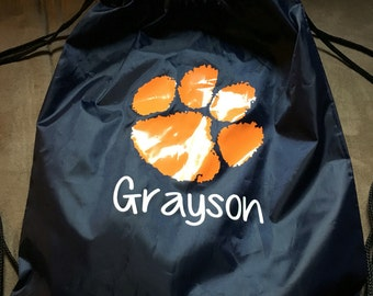 Custom Tiger paw drawstring backpack.  Perfect for sports and gifts or party favors.