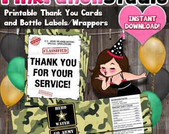 Printable Army Soldier Military Camo Top Secret Party Water Bottle Label and Thank You Cards INSTANT DOWNLOAD