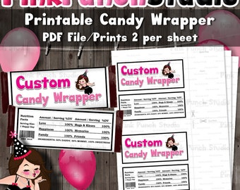 DIY Custom Design Personalized Printable Candy Wrappers Made to Match Your Party Theme PDF File Fits Hershey Standard 1.55 oz