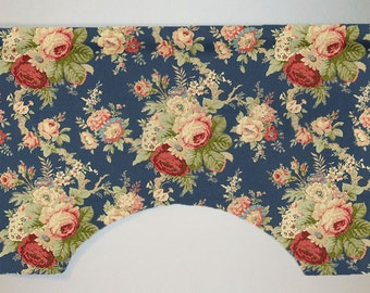 Waverly Sanctuary Rose Cabbage Rose Floral Custom Valance Curtain, Heritage Blue