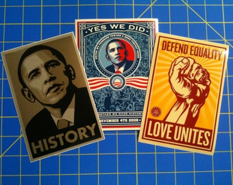 Yes We Did - History - Love Unites - Lot of 3 Shepard Fairey x Sticker Robot Vinyl Stickers