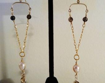 Gold filled chandelier earrings with iolite, vintage Swarovsky drops, freshwater pearls