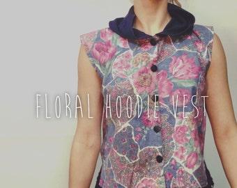 vintage hoodie vest / 90's vest / paisley vest / hooded vest / 90s floral vest