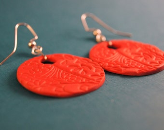 Red polymer clay drop earrings