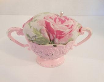 Vintage Floral /Pink pincushion