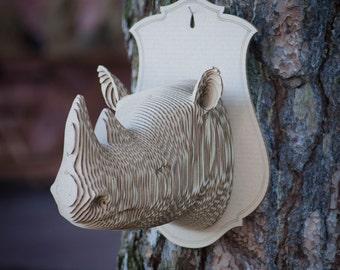 Cardboard Rhino Trophy head