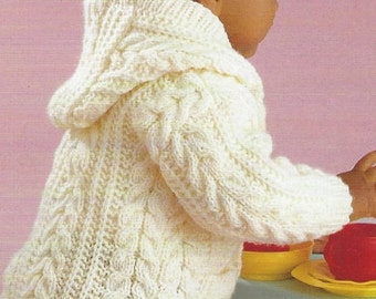 Knitting pattern baby aran cardigan Childrens jacket cable 0-8 years PDF Instant Download Nr.187
