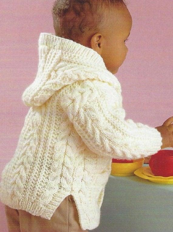 Knitting pattern baby aran cardigan Childrens jacket cable 0-8