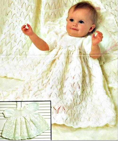 Knitting Patterns For Christening Shawls : Knitting Pattern Christening gown and shawl PDF Instant