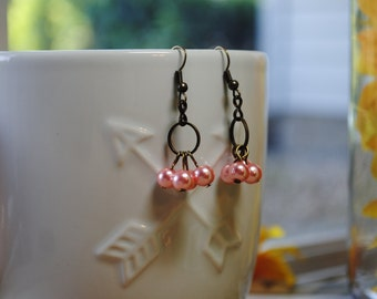 Pretty In Pink Pearl Earrings
