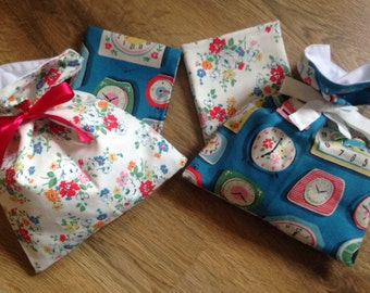 Gift bag, reuseable Lined bag, ribbon to tie, Cath Kidston fabric, Great for small presents at Christmas