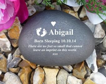 Memorial Pebble - Personalised - Weatherproof - Baby Feet Design