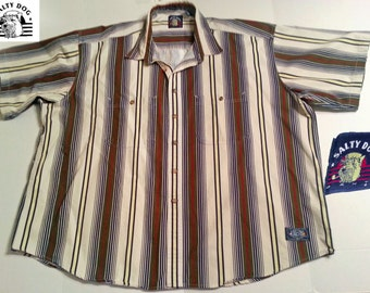 Vintage GANT Salty Dog Short Sleeve Button Shirt  Multicolor Stripe   100% Cotton  Sz 3XL