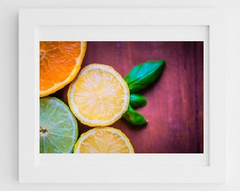 Food Kitchen Art: Lemon, Fine Art Photography, Art for kitchen white, yellow, green, orange, Food Photography Sill life art