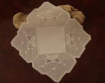 Vintage Linen Doily Hand Made White Very Fine Crochet Butterfly Design in Square Doyley  6 3/4 inches (17 cm) across