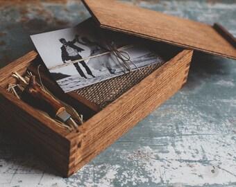 Dark Wood Photo Box - 8GB USB 3.0 Flash Drive - rustic ash