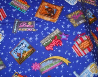 Fabric Art Drive in Theatre Movie Nostalgia - 100% Quality Cotton Fiber Textile Art-Home Decor-Pillow-Iron Wall by 1/2 Yard or YARDAGE